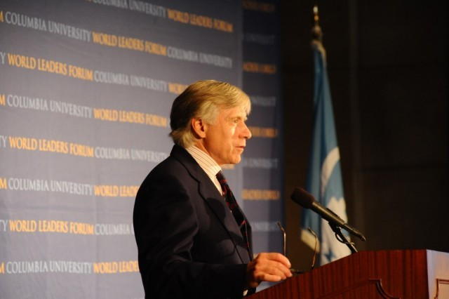 Lee C. Bollinger, Columbia University President introduces Howard Davies, Director, London School of Economics, to Columbia University's World Leaders Forum on October 20, 2010.
