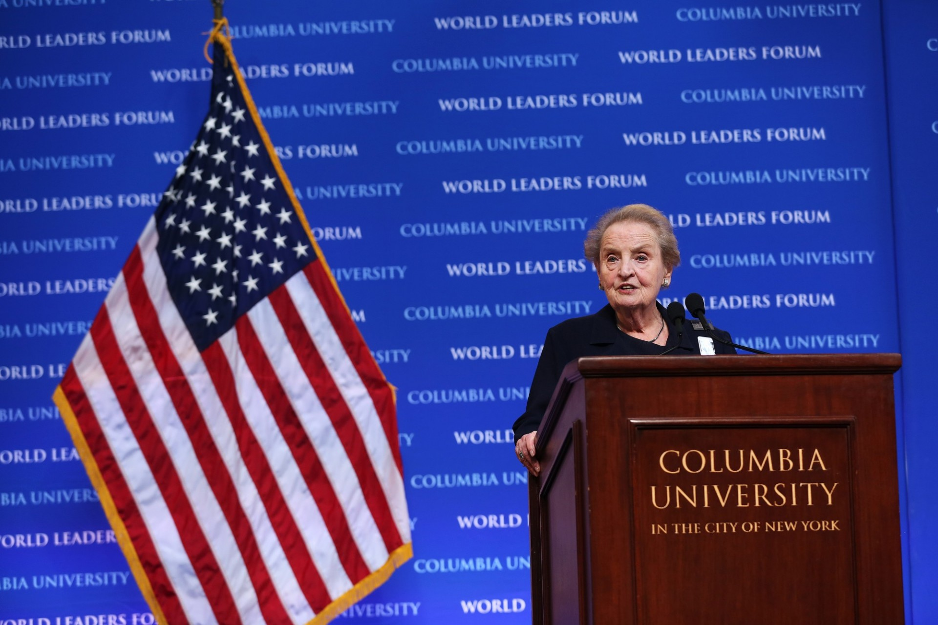 "The Honorable Madeleine K. Albright delivers her/his address, ""Global Challenges of Today - Commemorating Václav Havel,"" to Columbia University students, faculty and staff."