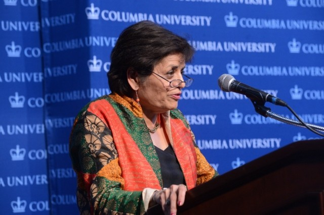 Vishakha N. Desai, Special Advisor for Global Affairs to the President; Member of the Committee on Global Thought, welcomes the Columbia University community on April 29, 2014.