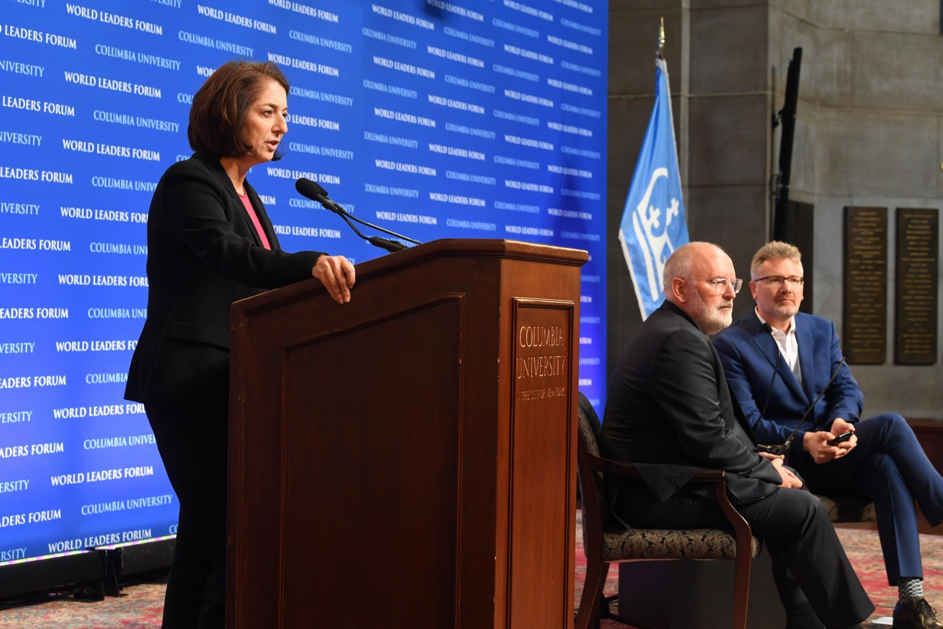 Anya Schiffrin, Director of the Technology, Media, and Communications specialization at the School of International and Public Affairs begins the World Leaders Forum with an introduction of First Vice-President Frans Timmermans of the European Commission.