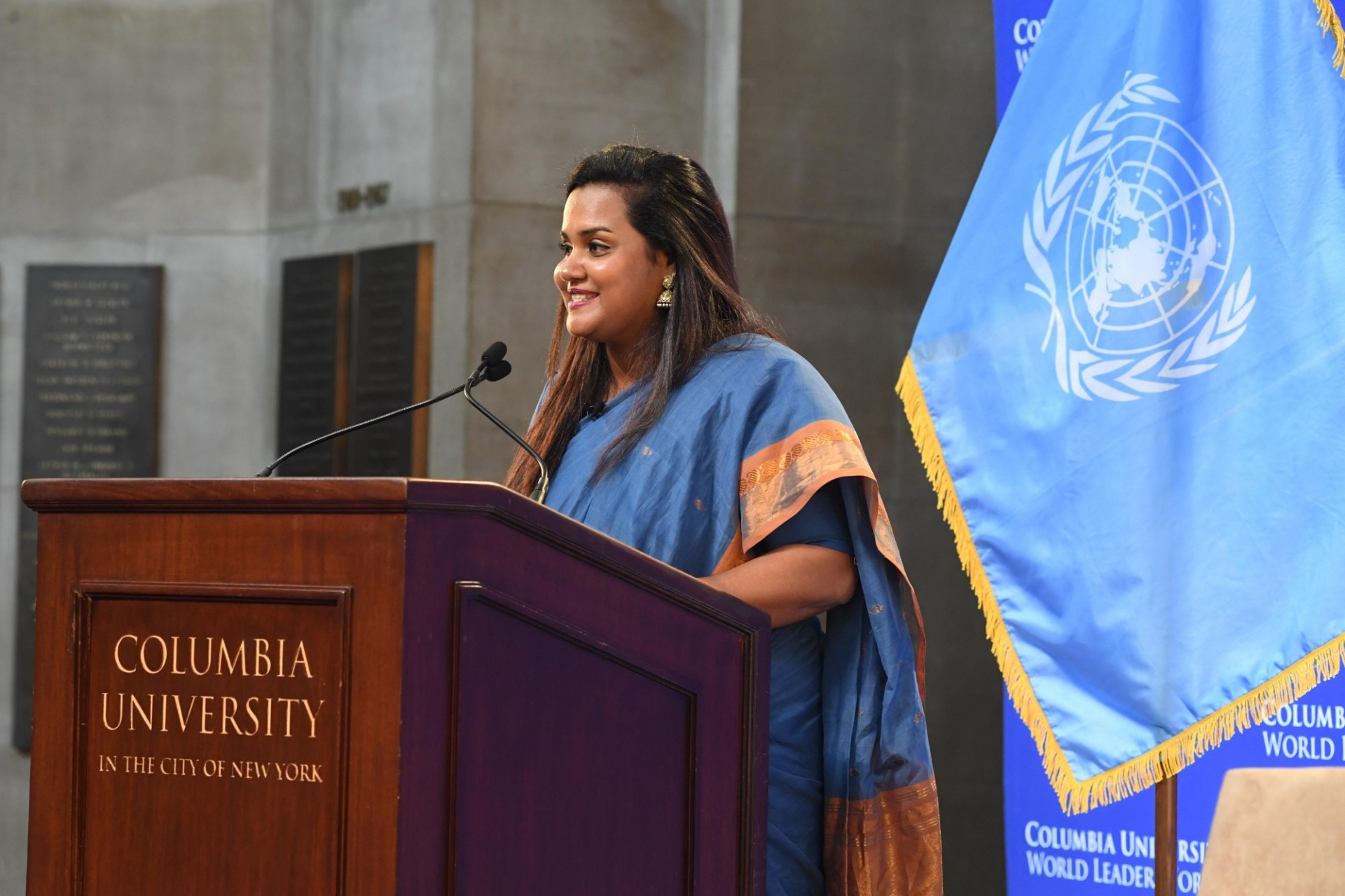 Jayathma Wickramanayake, UN Secretary-General's Envoy on Youth delivers her address to Columbia University students, faculty and staff.