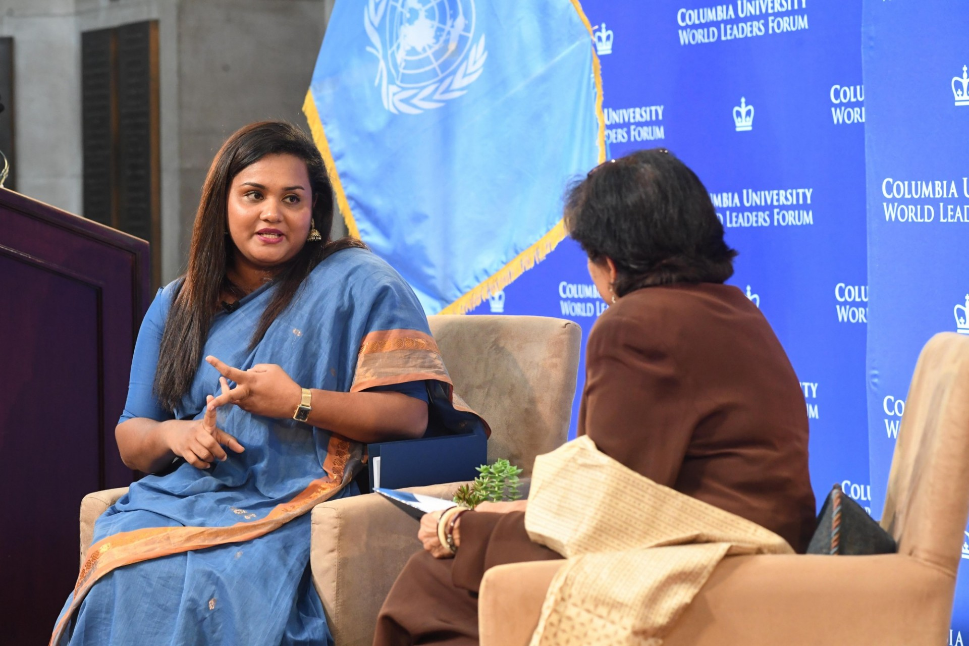 Vishakha N. Desai, Vice Chair, Committee on Global Thought, Senior Advisor for Global Affairs, and Senior Research Scholar, School of International and Public Affairs moderates the question and answer session with the audience.