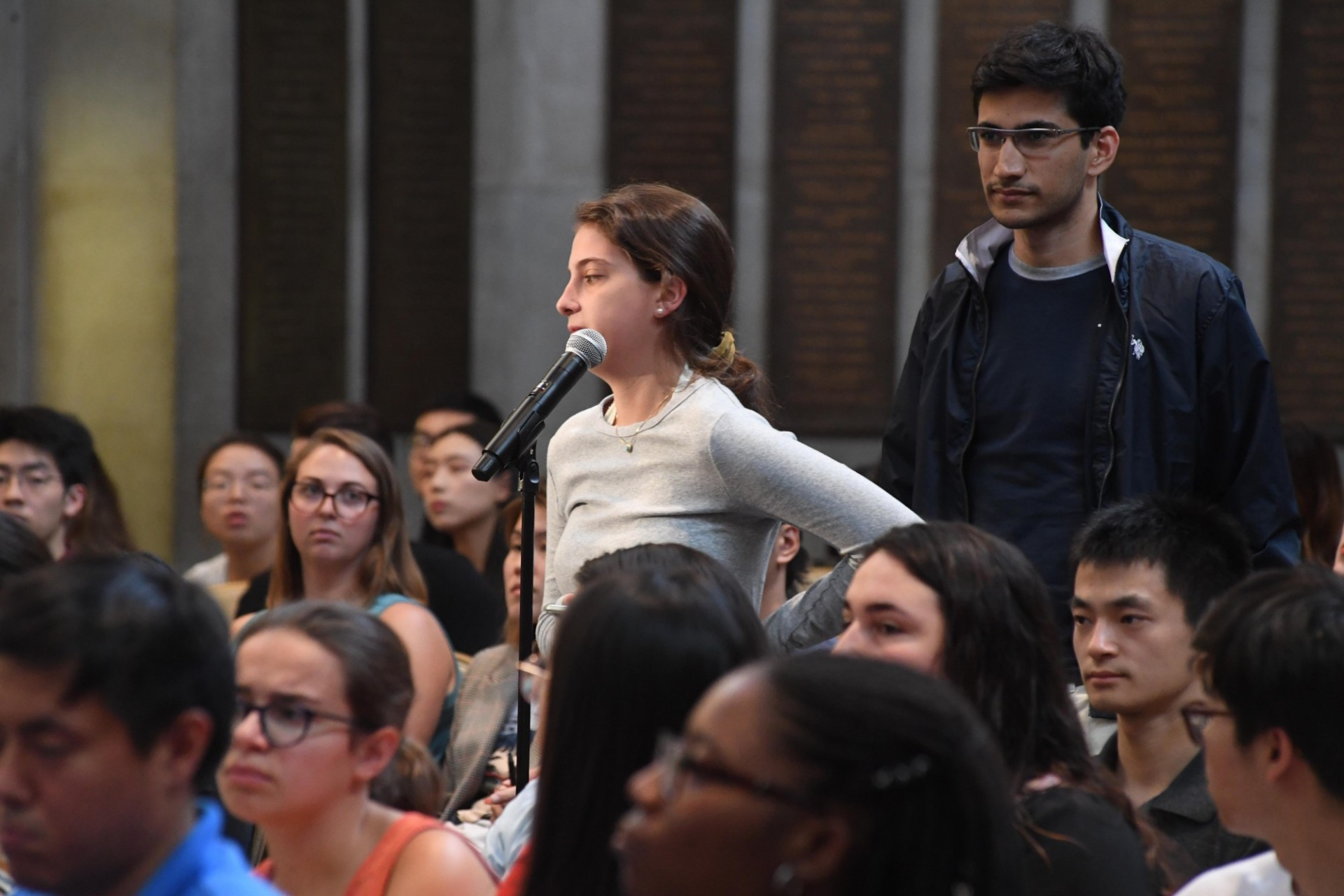 Columbia University students line up to ask Jayathma Wickramanayake, UN Secretary-General's Envoy on Youth questions during the question and answer session.