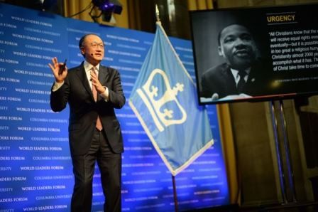 "Dr. Jim Yong Kim, President of the World Bank Group delivers his address, ""Challenging the World to Build New Foundations of Human Solidarity,"" to Columbia University students, faculty and staff."