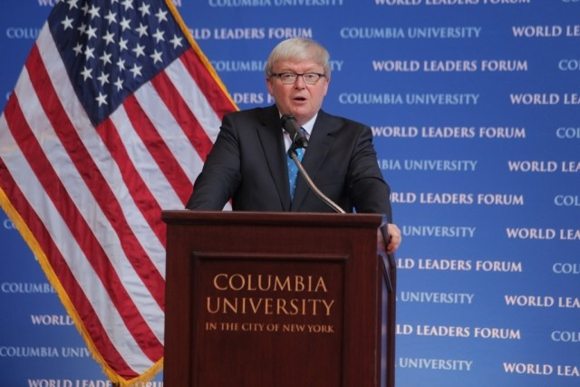 "The Honorable Kevin Rudd, delivers his speech titled, ""The Rise of China and its Impact on the Global Order,"" to Columbia University students, faculty, and staff."