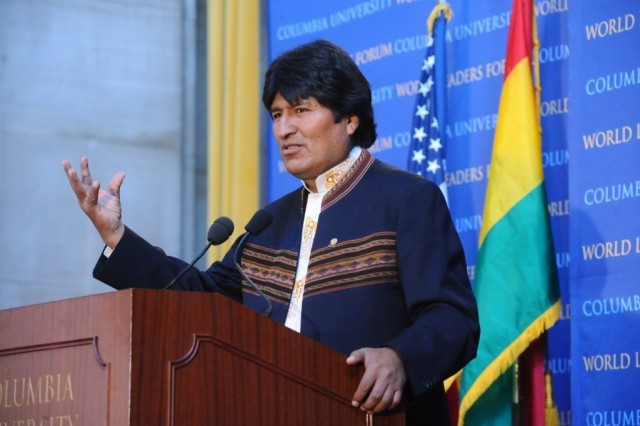 President Evo Morales Ayma of Bolivia addresses the audience in Low Memorial Library.