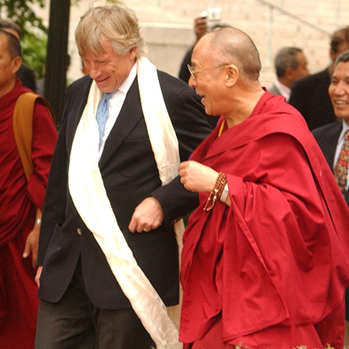 The Dalai Lama and President Lee C. Bollinger walking the grounds of Columbia University