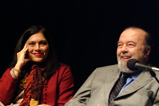 Filmmaker, Mira Nair and Director, Sir Peter Hall enjoy the discussion of the evening.